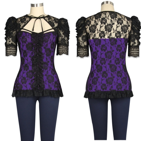 4ba78f87cadef Plus Size Lace Steampunk Gothic Punk Clothing Top